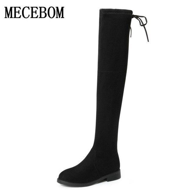 revendeur dbc15 35dbb € 54.03 |2018 mode chaussures marque automne hiver bottes Stretch bracelet  bottes garder genou chaud haute bottes femmes bout rond vers le bas de ...