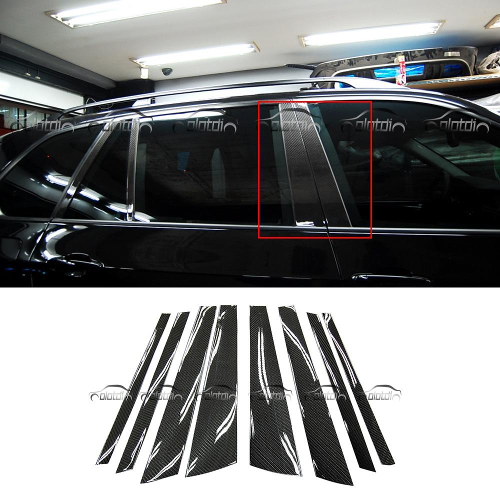 Voiture Fenêtre BC Colonne Garniture Bandes En Fiber De Carbone De Voiture Corps protection paillettes stickers Autocollants 6 pcs pour BMW E70 X5 x5M
