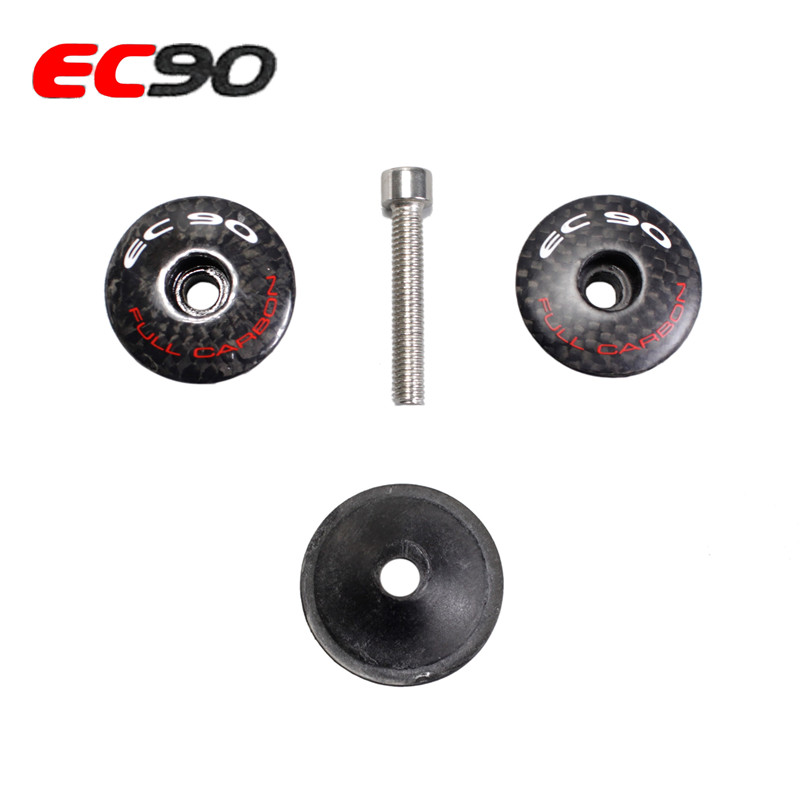 2017 New EC90 headset top cap Full Carbon Fiber Leather Cover Best Bicycle Stem Headset Cover MTB Bike Parts 7 g