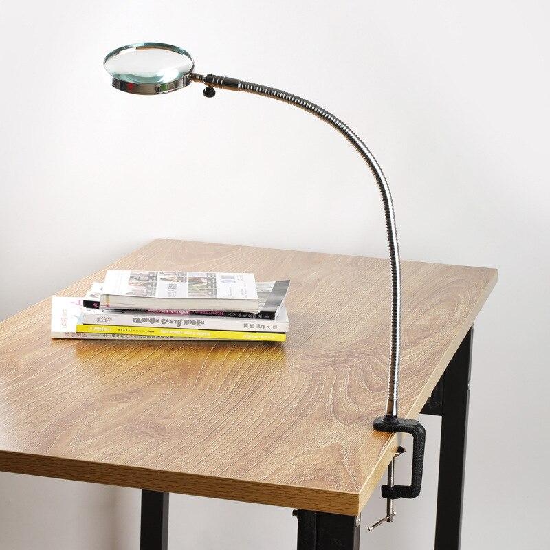 Lupa caliente Flexible cuello aumento escritorio abrazadera plástico caballo Metal 3X100mm lente lupa Repaire lupa