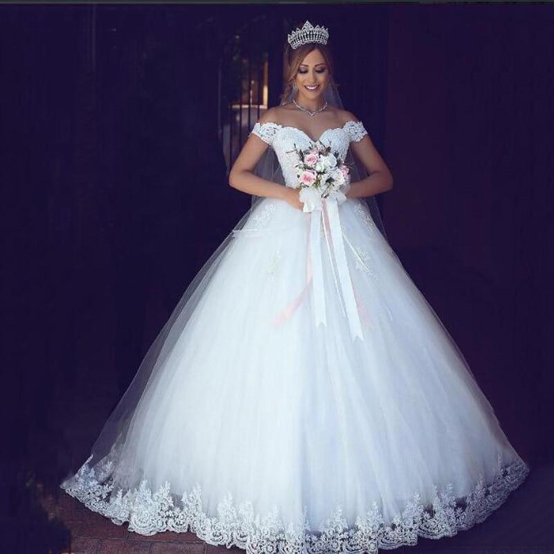 ZJ9143 2019 new White Ivory Elegant Off Shoulder Wedding Dresses for brides Bottom Lace sweetheart with