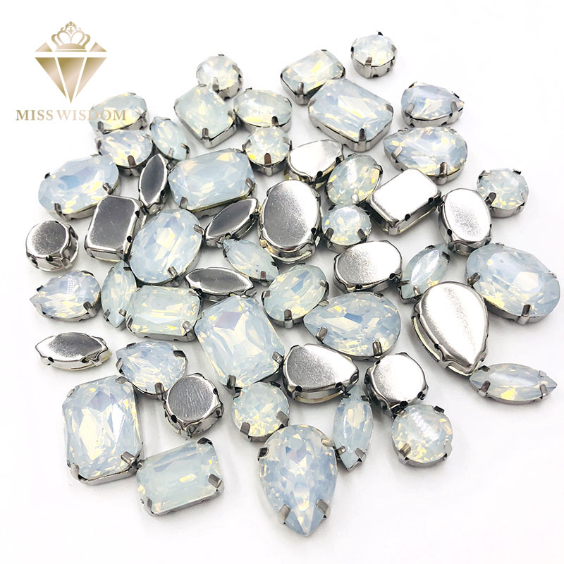 Free Shipping 50pcs White Opal Resin Mixed Shape Mixed Szie Flatback Sew On Rhinestones DIY Handicrafts Accessories