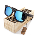 Bobobird Men's Retro Wooden Bamboo Sunglasses Square Piltor Summer Style Luxulry Brand Design Polaroid Sun Glasses in Gift Box