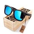 Bobobird hombres retro de madera de bambú gafas de sol cuadradas estilo luxulry piltor verano marca diseño gafas de sol polaroid en caja de regalo
