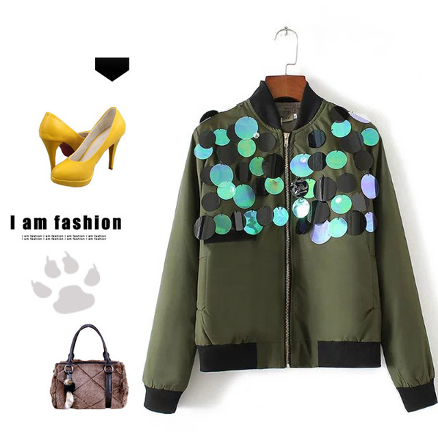 Блестками Куртка Молнии Женщины Осень Куртка Армия Зеленый Черный