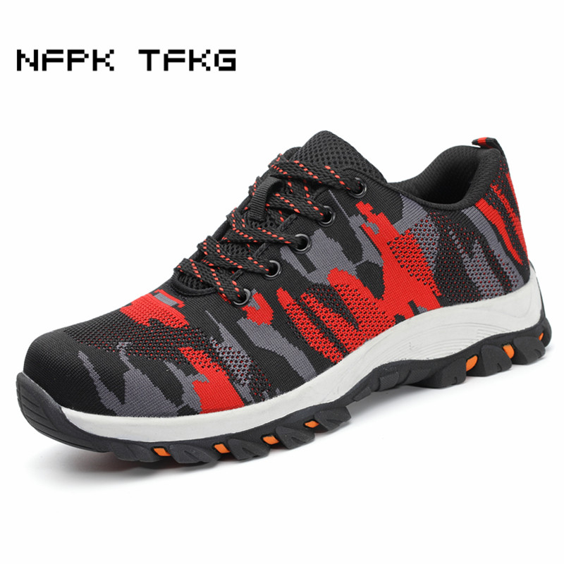 big size mens casual breathable steel toe caps working safety shoes non-slip site factory tooling security low boots protective