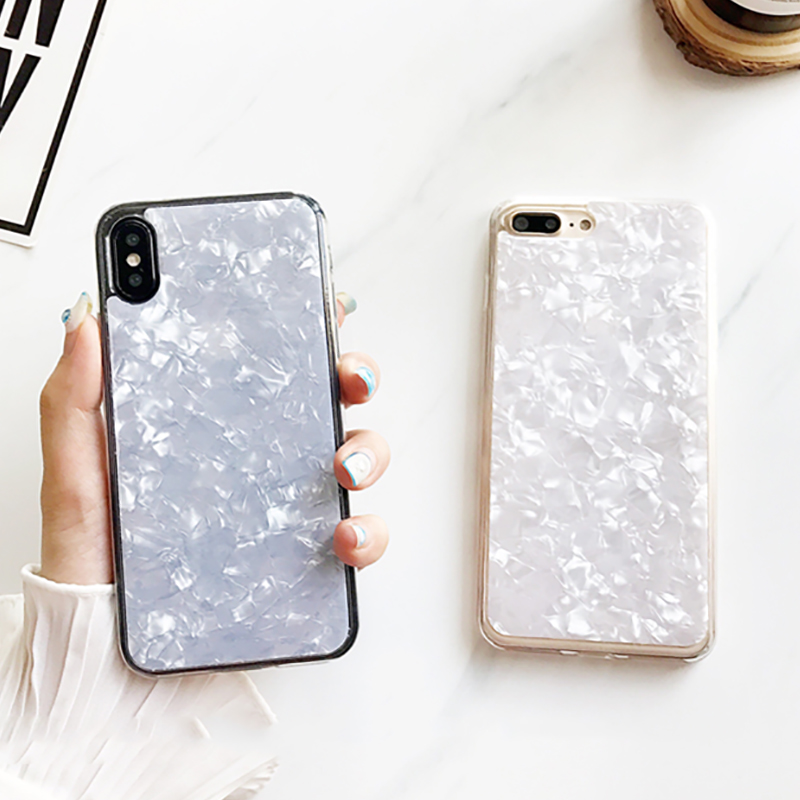 SUYACS For iPhone 6 6S 7 8 Plus X Case Fashion Geometric Glossy Shell Color Soft TPU Silicon Mobile Phone Cases Cover Shells Bag