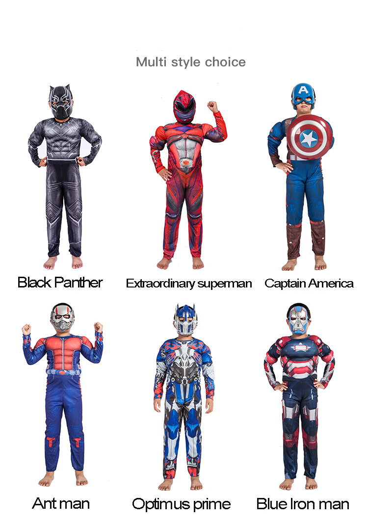 Spiderman Superman Kids Muscle Anime Cosplay Costume Suits Captain America Ant man Thor Boy Girl Wonder Woman Hulk Batman Hornet in Boys Costumes from Novelty Special Use