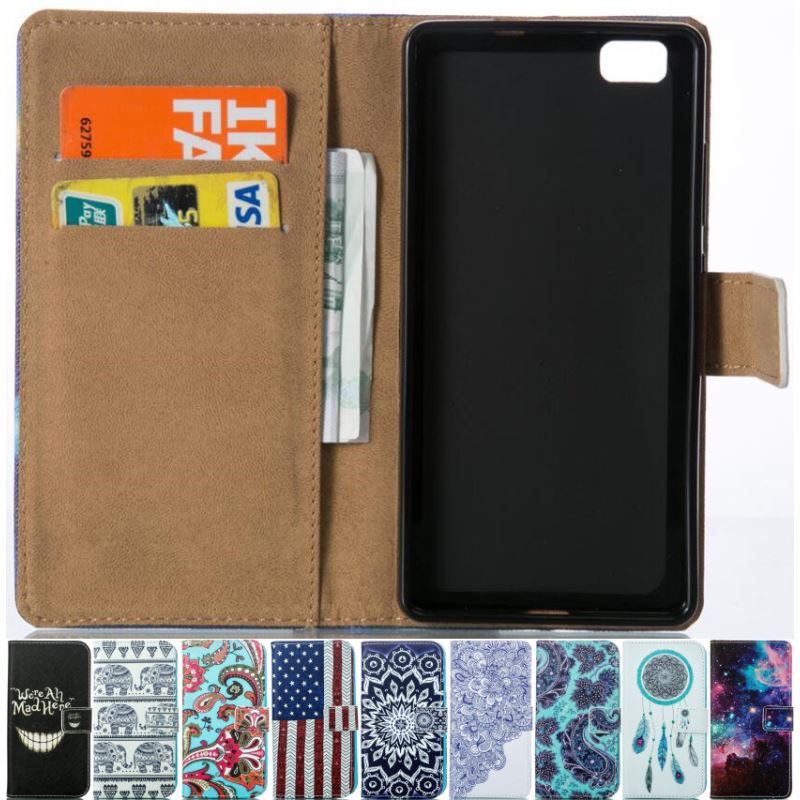 Case For Huawei P8 Lite 2015 Cover Flip PU Leather <font><b>Phone</b></font> Wallet Case P8Lite P8 Mini 2015 Floral Shockproof Skin Stand Bags P23Z