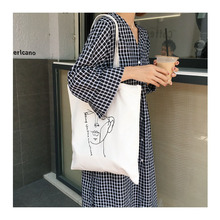 Romantic pattern canvas tote bag cotton ladies shopping travel shoulder
