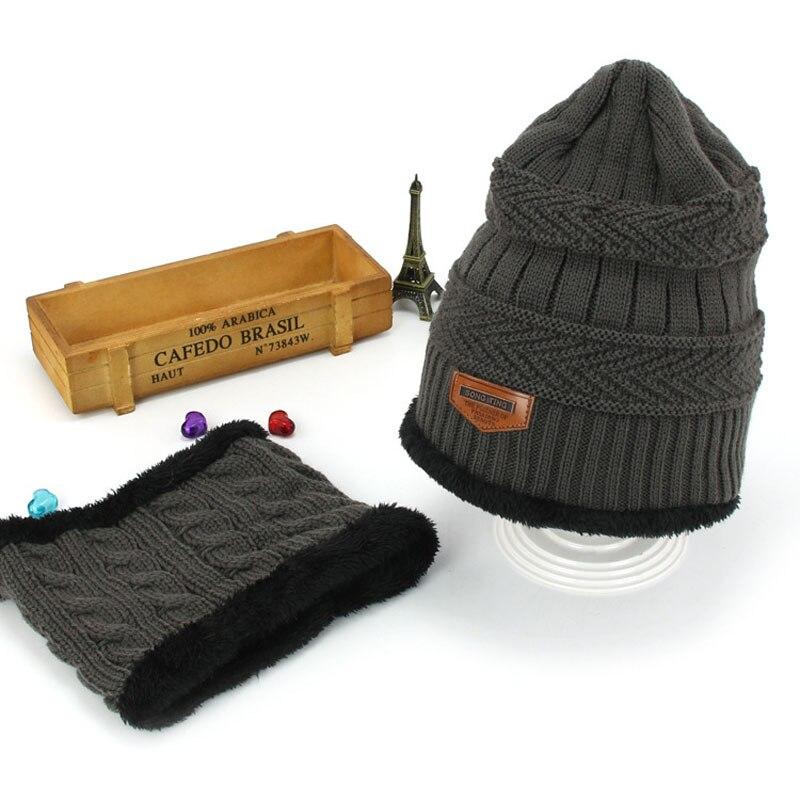 Комплект шапочки унисекс для детей и взрослых, детский толстый вязаный вельветовый головной убор и шарф, зимний теплый костюм, шапка и шарф, MZ5356 - Цвет: Темно-серый