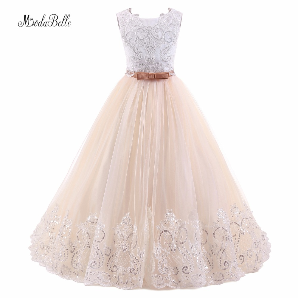 modabelle Kids Bow Lace Communie Jurk   Girls   Princess Evening Gowns Vintage Ivory Champagne Fluffy Tulle   Flower     Girl     Dress   2018
