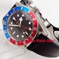 Механические наручные часы Corgeut  41 мм  мужские водонепроницаемые часы с кожаным черным циферблатом  золотым  синим  красным  сапфировым стек...