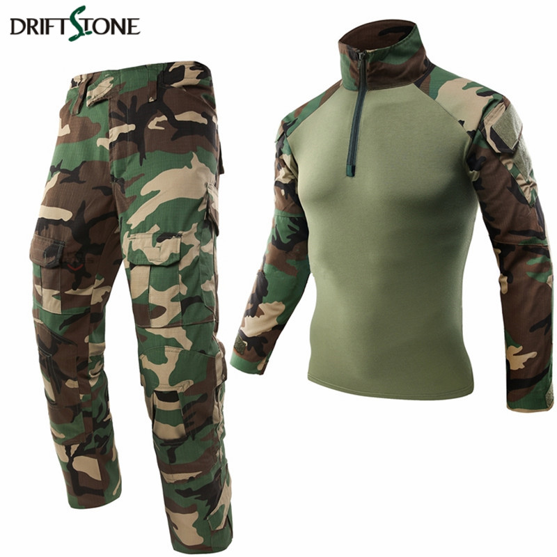 Woodland Military Uniform Airsoft Camouflage Clothing Suit Paintball Equipment Military Clothing Tactical Pants Shirt With Pads ...