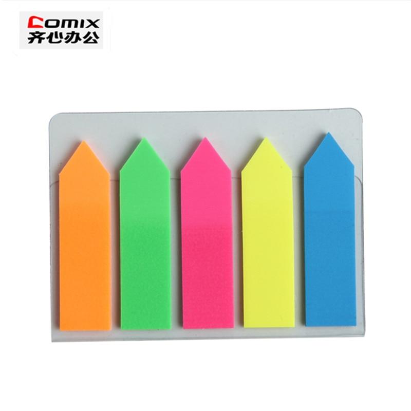 Super mielas, gali būti pakabinti fluorescencinio lipduko lipdukai, failų indeksas Fluorescent bookmark, spalvų pastabų etiketės, biuro mokyklos raštinės reikmenys