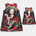 Mother Daughter Dresses Hot Spring Clothes Cotton Character Vest Tank Dress Mum and Kids Girls Family Clothing Matching Outfits
