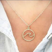 Waves Necklace Pendant with Chain Beach Nautical Surfing Jewelry Choker Necklaces for Surfer's Jewelry Ocean Life Necklace(China)