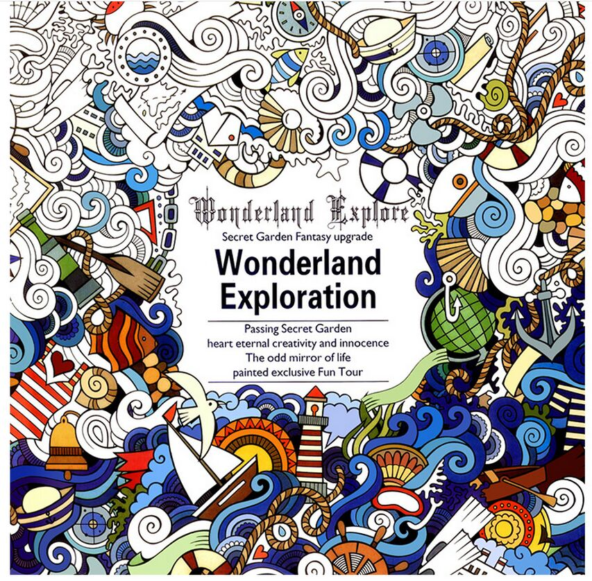 1 PCS 24 Pages English Version Wonderland Exploration Coloring Book For Adult Relieve Stress Graffiti Drawing Art In Books From Office School