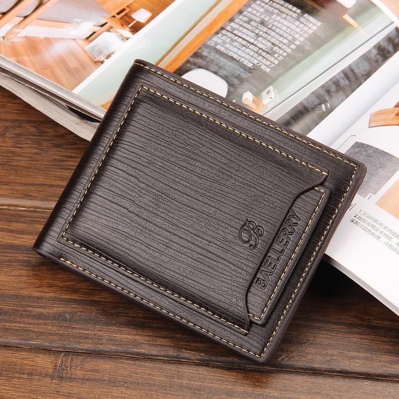 лучшая цена Baellerry Hot Sale Business Men's Wallets Quality 3 Folds Sutures Black Brwon Detached Cards Slots ID Credit Card Holder Purses