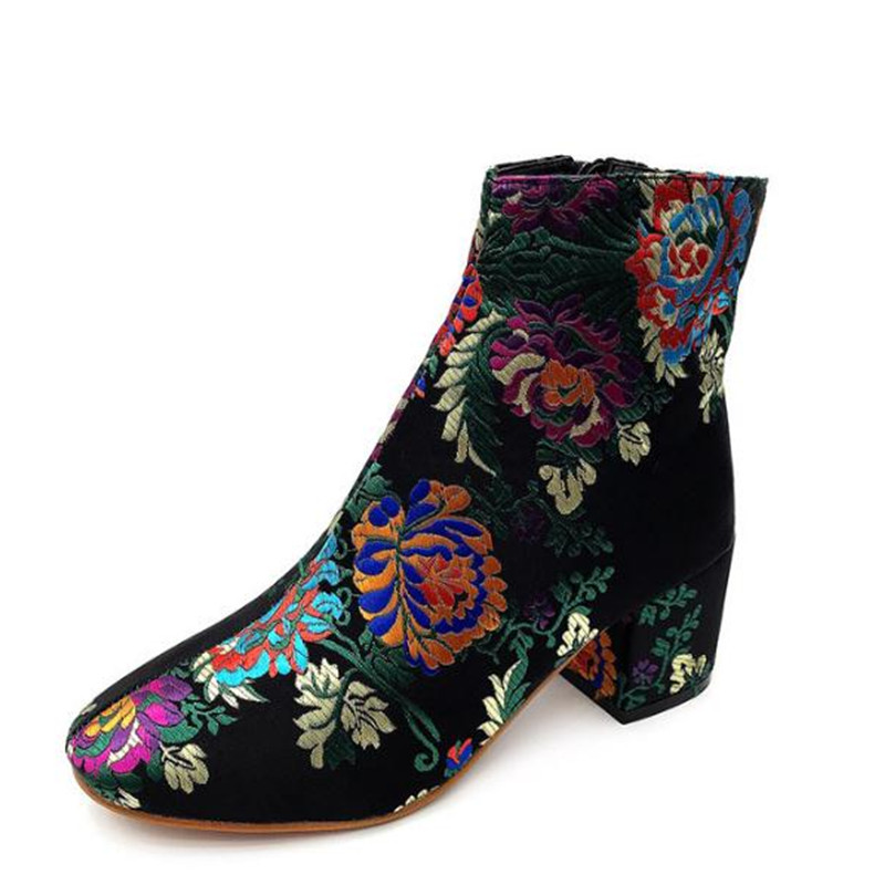 2018 new fashion embroidered high heel boots women's boots martin boots bottes femmes boty obuv