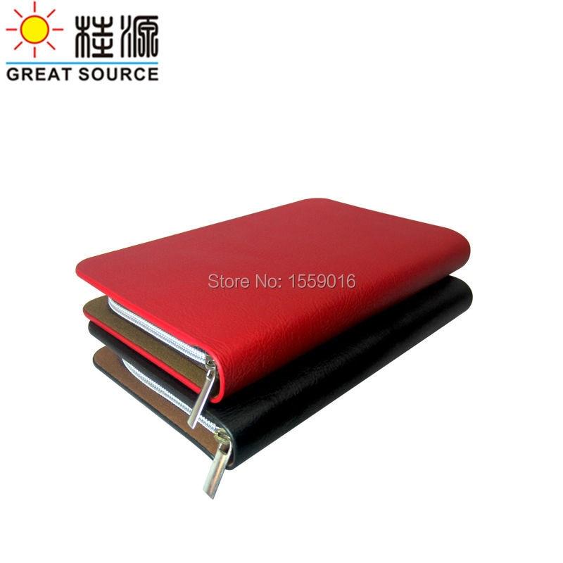 Zipper Porfolio Folder Leather Wallet With 6 Ring Binder For A6 Notebook W/Organizer Bag Color Sticker Soft Ruler
