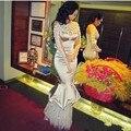 2017 Evening Dresses Mermaid Pearls Robe De Soiree Arabia Evening Dress Long Applique Full Sleeve Vestido De Festa Formal Gown S