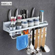 Space Aluminum Kitchen Storage rack Wall-mounted Knife cutlery Rack shelf chopsticks spoon Seasoning Bottle Holder with 10 Hooks