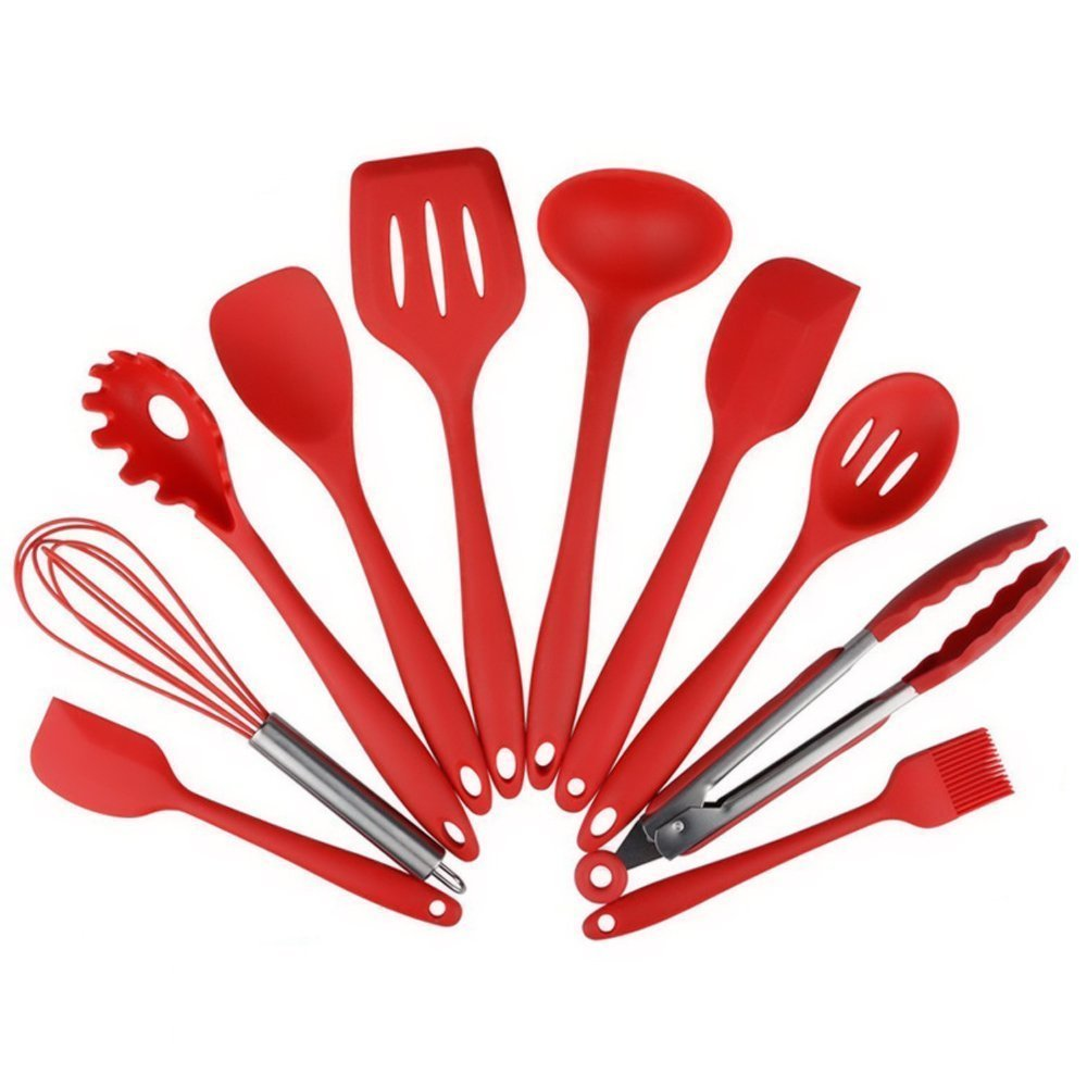 10Pcs set Silicone Heat Resistant Kitchen Cooking Utensils spatula Non Stick Baking Tool tongs ladle gadget