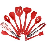 10Pcs/set Silicone Heat Resistant Kitchen Cooking Utensils spatula Non-Stick Baking Tool tongs ladle gadget Easy to Use & Clean