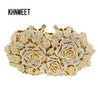 LaiSC Gold Silver Evening Bag Rose Flower Holiday Party Clutch Purse Crystal Bag Stylish Day Clutches