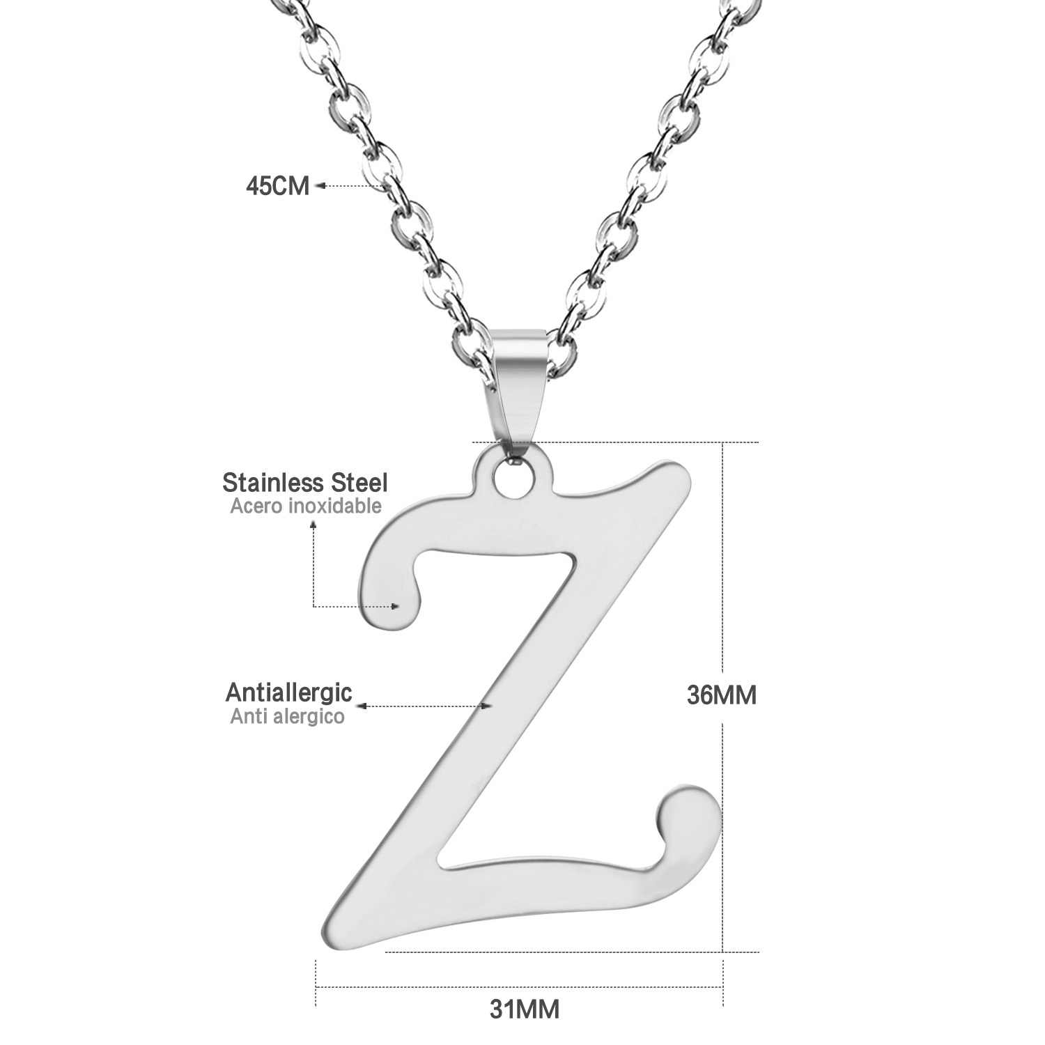 ASONSTEEL 5 Pcs/Lot Elegant Metal Letter A-Z Necklace Fashion Alphabet Necklace Silver Stainless Steel,Anti-allergy