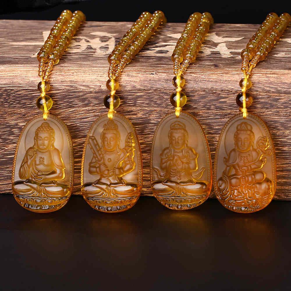 4ピースユニークなアイスシトリンペンダント彫仏仏キャンバス絵画観音ラッキーお守りペンダントネックレス像仏ハッピー