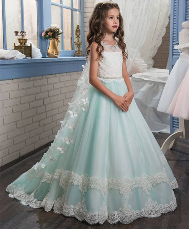 Ball Gown Flower Girl Dress for Wedding Butterfly Lace Up Bow Sash Sleeveless Vestidos Longo Custom Made First Communion Gown pageant dresses for girl butterfly o neck lace up bow sash sleeveless ball gown vestidos longo custom made first communion gown