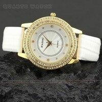Q1109 P Classic Fashion Boutique Atmosphere White PU With Golden Diamond Dial Lady Quartz Watch