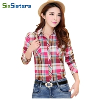 Womens Shirts Female Plaid Shirts Summer Style Cotton Slim Tops Girl Fashion Long Sleeve Shirts Plus