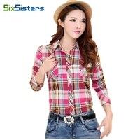 Womens Shirts Female Plaid Shirts Summer Style Cotton Slim Tops Girl Fashion Long Sleeve Shirts Plus