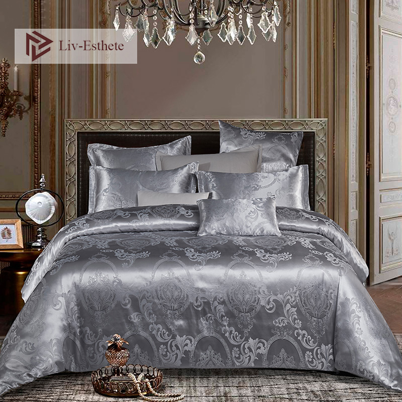 Liv-Esthete Euro Jacquard Palace Luxury Bedding Set Gray Queen King Duvet Cover Flat Sheet Decorative Bed Linen Set For Wedding
