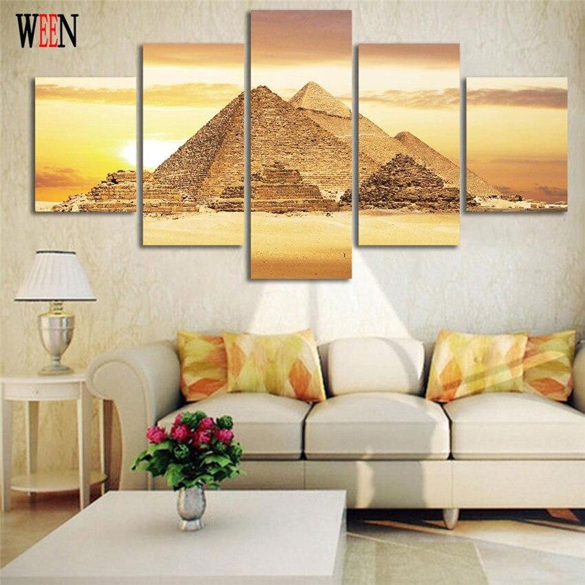 Gerahmte 5 Stücke Majestätischen Pyramide Leinwand Kunst Wandbilder ...