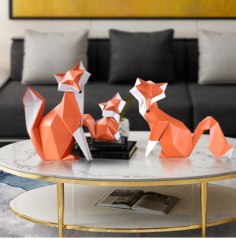 Table Decoration Accessories Fox Statue Sculpture Home Decor Modern Animal Figurine Living Room Office Desk Decorations Art (2)