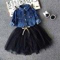 Малыша Девушки Наряды джинсовая рубашка + юбка балетной пачки набор, 2-7y Новорожденных девочек Комплект Одежды, дети дети верхней одежды Осень зимние девушки одежду