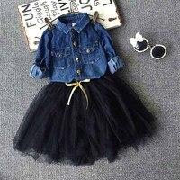Toddler Girls Outfits Denim Shirt Tutu Skirt Set 2 7y Baby Girls Clothing Set Children Kids