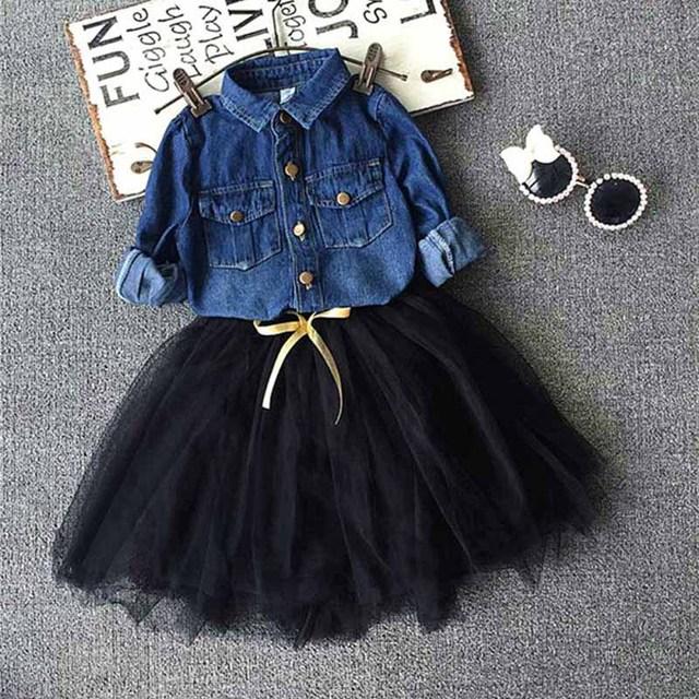 Roupas de criança Meninas denim shirt + tutu conjunto saia, 2-7y Bebê meninas Conjunto de Roupas, crianças crianças outwear Outono meninas roupas de inverno