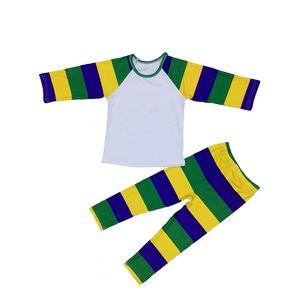 Mardi Kleuren Paars Groen en Goud kleuren gedrukt baby meisjes raglan shirts en leggings broek outfit voor Mardi gras vakantie(China)