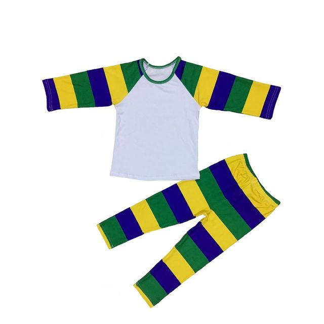 87d0d68d Mardi Gras Colors Purple Green and Gold colors printed baby girls raglan  shirts and leggings pants outfit for Mardi Gras holiday