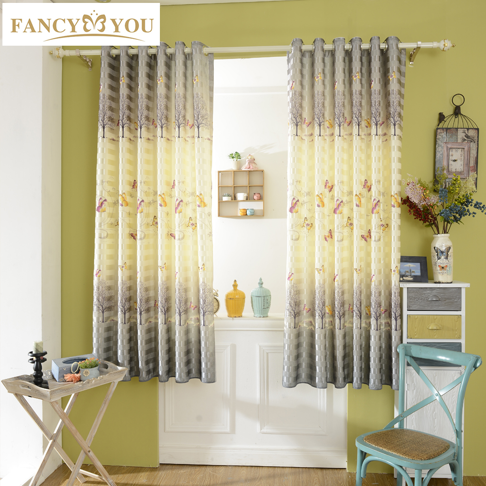 Butterfly Blackout Short Window Curtains For Living Room