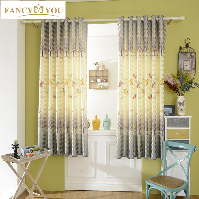 butterfly blackout short window curtains for living room curtains