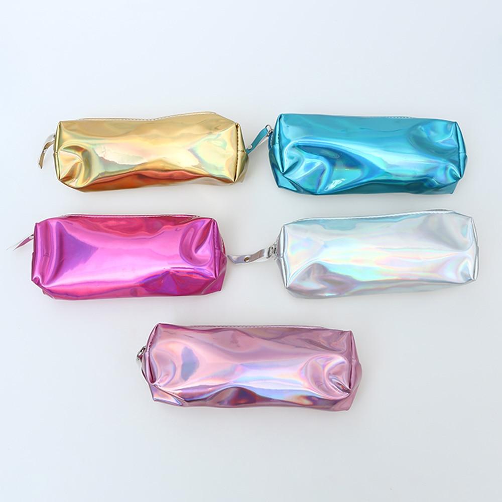 1pc New Fashion Portable Large Capacity Laser Purse Pencil Case Cosmetics Makeup Bag Holographic Hologram Metallic Color