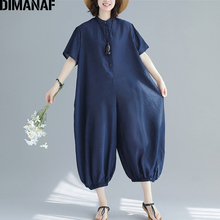DIMANAF Plus Size Women Jumpsuits Long Pants Summer Big Size Trousers Cotton Female Clothes Loose Casual Vintage Striped 2019