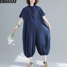 DIMANAF Plus Size kobiety kombinezony długie spodnie lato duży rozmiar spodnie bawełniane ubrania damskie luźne na co dzień w stylu Vintage paski 2019