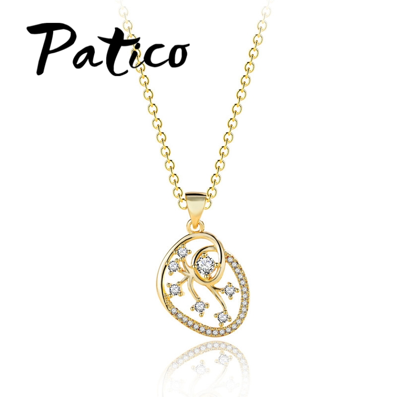 PATICO New Fashion Plant Design 24K Gold Color Pendant Necklace S90 Silver Wedding Necklace For Bridal Women Ladies